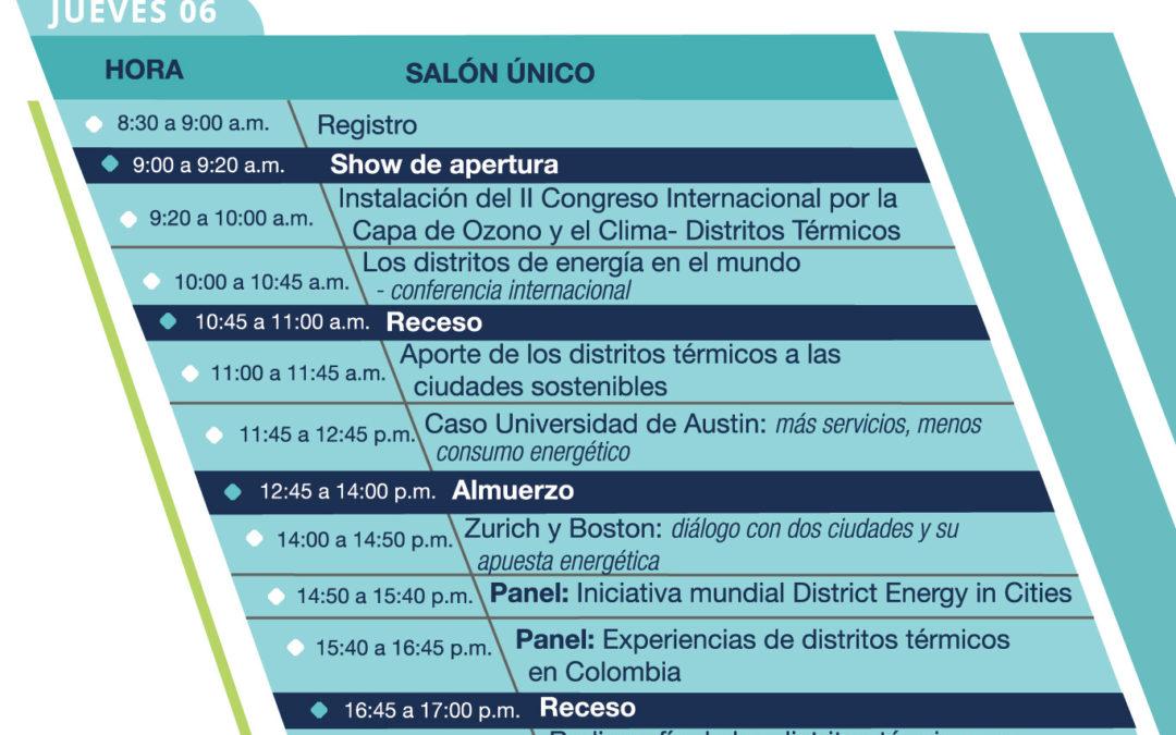 Agenda del II Congreso Internacional por la Capa de Ozono y el Clima: Distritos Térmicos
